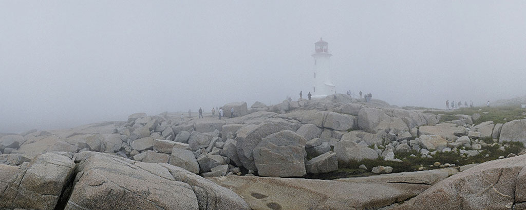 Classic Peggy's Cove in fog