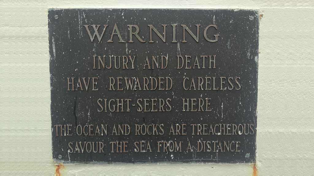 Peggy's Cove Warning Sign